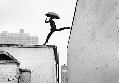 Reed leaping over rooftop, New York, NY 2007